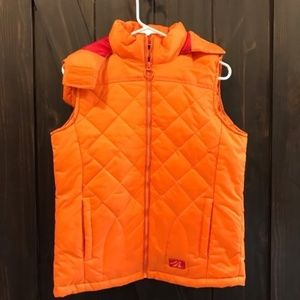 2/$40 Orange puff vest with hood NWOT size S